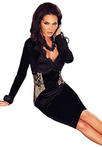 Bling-Bling Womens Black Lace Applique V Neck Midi Dress Size L