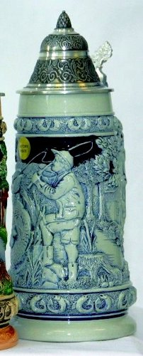 Made in Relief beer mug - Fishing - Fishing Man - beer, Beer Mug - ceramic, hand painted with tin lid 97% limited edition
