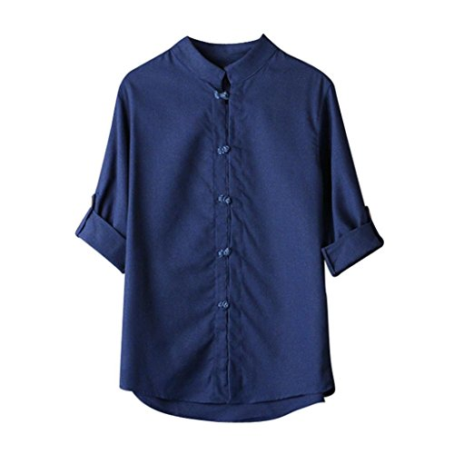 UJUNAOR Männer Klassischer chinesischer Stil Kung Fu Hemd Tops Tang-Anzug 3/4 Ärmel Leinen Bluse(EU L/CN XL,Marine)