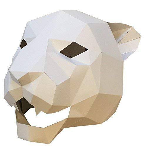 Gesichtsmaske Schild Schleier Wache Bildschirm Domino falsche Front Jaguar Tiger Kopf Maske Make-up Tanzparty Party Maske weiß,1