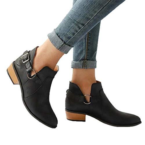 Stiefeletten Damen Chelsea Boots Ankle Leder Blockabsatz Kurzschaft Stiefel 5Cm Absatz Schuhe Winter Elegant Schwarz Weiß Gr.35-43 BK39