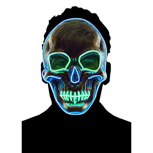 LayOPO LED Light up Maske, Flash Scary Skull Face Maske Creepy Handpuppe für Männer Frauen Kinder Halloween/Party Raver/Cosplay Green+Blue