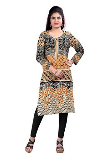 Kurti (Sai Fab Women\'s Cotton Printed Orange & Black Kurti) ( Free Size Altrable Till 42-44 OR XL)