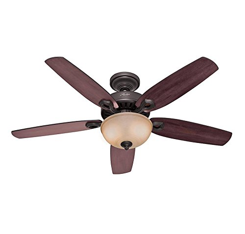 Cherry Fan Blades (Hunter 53091 Builder Deluxe 5-Blade Single Light Ceiling Fan with Brazilian Cherry/Stained Oak Blades and Glass Light Bowl, 52-Inch 1 Lichtquelle 3 Bronze, Kirsche)