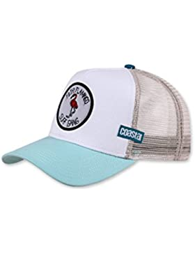 COASTAL - Filthy Flamingo (pale blue/khaki) - High Fitted Trucker Cap
