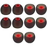 YTM Silicone Rubber Earbuds Tips, Eartips, Earpads, Earplugs, for Replacement in Earphones and Bluetooth Medium Size (10 Pcs (5 Pair), Black)
