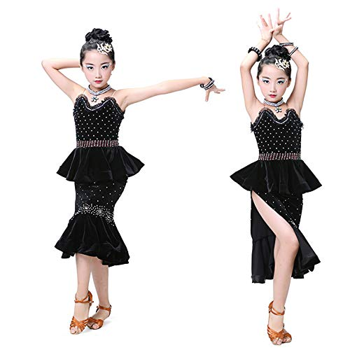 YONGMEI Tanzkostüm - Kinder Latin Dance Kostüme Latin Dance Dress Wettbewerb Performance Pailletten Fringe Drill (Farbe : SCHWARZ, größe : ()