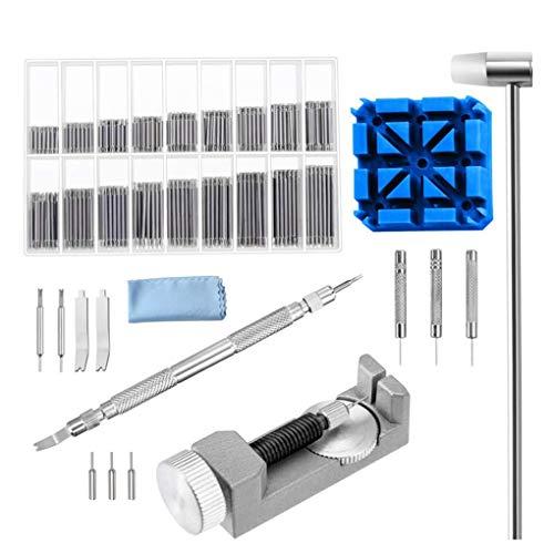 Demino Uhrenarmband-Verbindungs-Remover-Tool Kit Set Dual Head Hammer-Uhrenarmband-Halter Extra-Pins Uhrenzubehör Reparatur Silber-