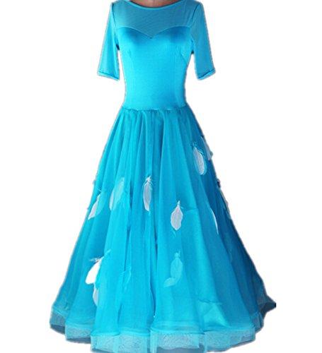 YC gut Frauen Standard Ballroom Dance Wettbewerb Kleider 3Farbe Choices Feder Dancing Kostüme für Frauen Tango Walzer Kleider Modern Dance Kleid, A-Linie, Blau, (Dancing Ballroom Waltz Kostüme)