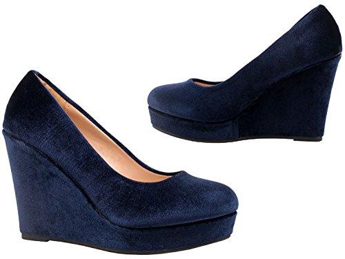 Elara Damen Pumps | Keilabsatz Wedges Plateau Schuhe Blau Andalusia