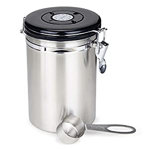 Pot de café en acier inoxydable 21 onces,Boîte à Café Coffee,Hermétique en Acier Inoxydable pour Conserver le Café en Grain et Moulu,Récipient avec Couvercle et Cadran Dateur,café en grains, en poudre, thé, noix, Kakao