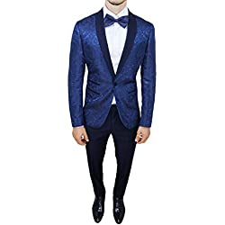 Abito completo uomo sartoriale blu tessuto raso floreale slim fit vestito smoking elegante (50)