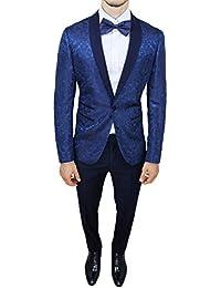 Abito completo uomo sartoriale blu tessuto raso damascato floreale slim fit vestito smoking elegante