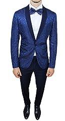 Idea Regalo - Abito completo uomo sartoriale blu tessuto raso floreale slim fit vestito smoking elegante (50)