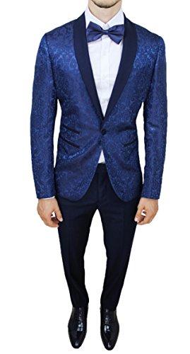 Abito completo uomo sartoriale blu tessuto raso floreale slim fit vestito smoking elegante (44)
