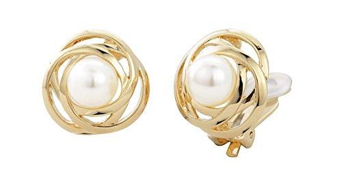 Traveller® Schmuck Ohrring Ohrclip mit Crystals from Swarovski® - 22kt vergoldet oder rhodiniert - Perle weiß Ø 10mm (gold)