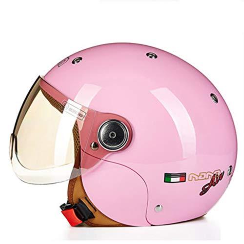 YINUO-Helm Kinderhelm Nette Vier Jahreszeiten Motorrad Elektrische Schutzhelm Kind Junge Mädchen Sommer Männer Und Frauen Baby (Color : Pink) (Motorrad-net)