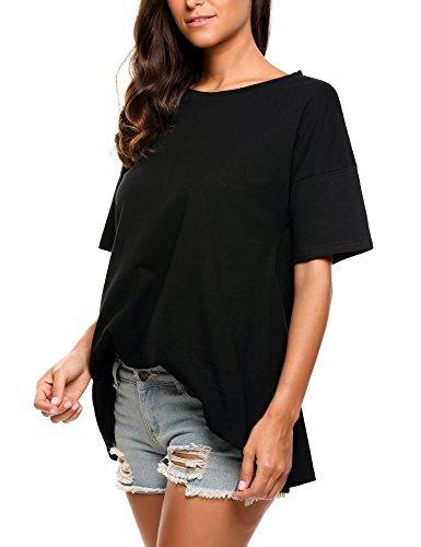 Meaneor Damen Classics Lässig Rundhals T-Shirt Basic Tops Bluse Trompetenärmel Einfarbig A Schwarz