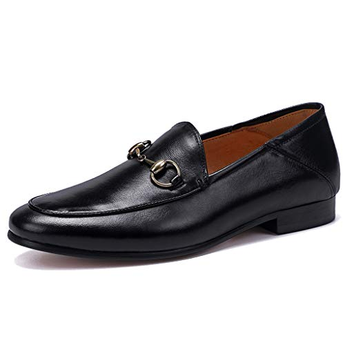 MERRYHE Herren Horsebit Loafers Mode aus echtem Leder Runde Zehe Bootsschuhe Casual Fahren Schuh Rauchen Schuhe,Black-40 -
