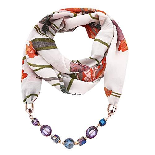 Oliviavan Damen Halskette Modeschmuck Anhänger Schals & Tücher Jahrgang böhmischen Stil einfarbig mit Schnalle Kette Quasten Schal Halskette und Leinen mit Lätzchen 180x48cm