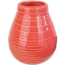 Mate grande de cerámica rojo