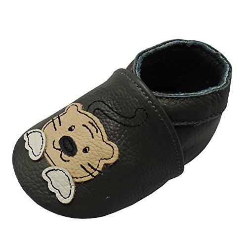 Yalion Baby Mokassin Lederpuschen Weiche Leder Krabbelschuhe Krabbelpusche mit Tiger Dunkelgrau,12-18 Monate
