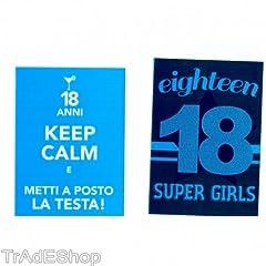 Idea Regalo - TrAdE shop Traesio 2 Biglietto Auguri Compleanno 18 Anni Blu con Busta Keep Calm Testa Posto Super