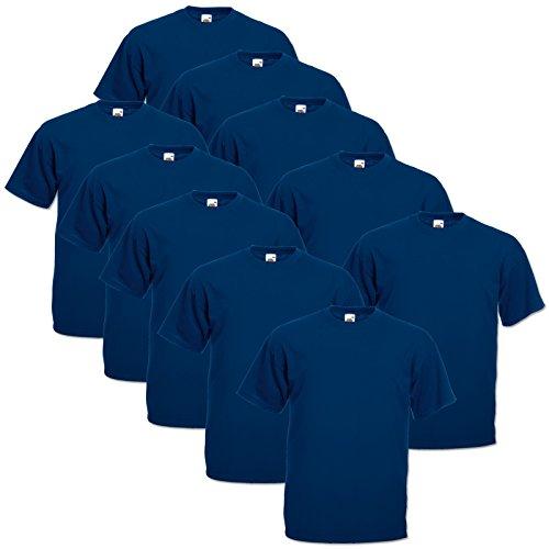 10 Fruit of the loom T Shirts Valueweight T Rundhals S M L XL XXL 3XL 4XL 5XL Übergröße Diverse Farbsets auswählbar (L, Navyblau)