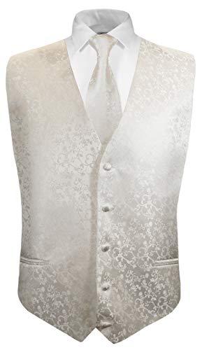 ug Weste mit Krawatte 2tlg ivory floral für Kinderanzug Gr. 8 ()