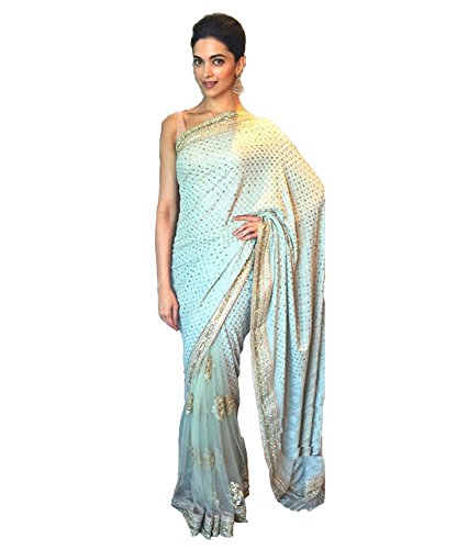 Adorn fashion Mastani Deepika Padukone Blue Georgette Saree  available at amazon for Rs.2150