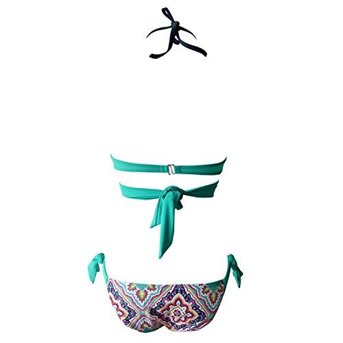 Push Up Bikini Set Lemon design Sexy gepolsterte Badeanzug Candy bunte Bademode Strappy Tankinis Top gepolstert und kurze Unterseite 2 Stück S-2XL See blau