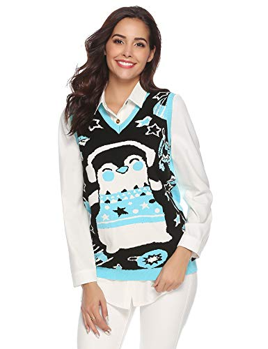 Abollria Damen Ärmelloser Strickpullover Pullunder Lustiger Pinguin  Weihnachtspullover Ugly Christmas Sweater 4e88ecea00