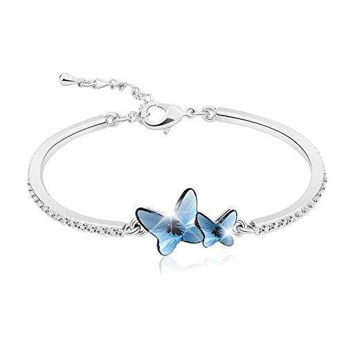 """Pulsera Para Mujer """"Amantes Mariposas"""" de T400 Jewelers - Brazalete de Mariposas Hecho con Cristal de SWAROVSKI Elements Regalo de San Valentín"""