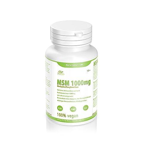 MSM-1000mg reine MSM (Methylsulfonylmethan) 120 Tabletten - hochdosiert mit 1000mg - vegan
