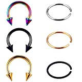 12Pcs 316L Stainless Steel 16G Nose Piercing Septum Lip Nipple Eyebrow Rings Hoop Horseshoe Ear Piercings 10mm