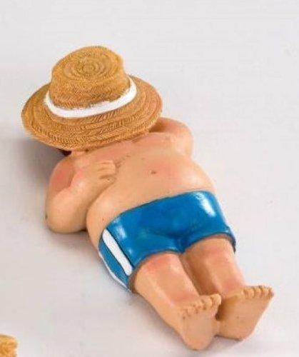 Witziger Strandschläfer mit Hut in blau (Figur Bemalte Keramik)