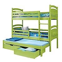 Triple Bunk Bed JACOB 3 Modern Trundle High Sleeper Mattress Drawers Ladder 3 Children Pine Wood (Right Hand Side, Shorter Size)