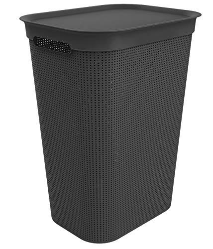Rotho Brisen Wäschesammler mit Deckel 50 l, Kunststoff (PP), schwarz, 50 Liter (43 x 34 x 53 cm)