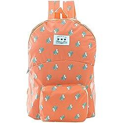 Moda Plegable Ligera Escuela Estudiante Bolsa Daypack Impermeable Casual Mochila Ultraligera University Bookbag Daily Bag Mochila Satchel Packable Nuevo Diseño de Regalo (Naranja)