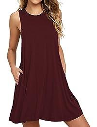 HAOMEILI Women's Sleeveless Long Sleeve Pockets Casual Swing T-Shirt Summer Dress