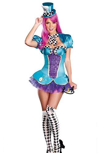 Nihiug Halloween Kostüm Weiblich Cosplay Alice Sleepwalking Fairyland Sexy Clown Magier Tanzen Schauspieler Anzug Super Camouflage Subdue Temptation,SkyBlue+DeepPurple-M (Magier Kostüm Frauen)