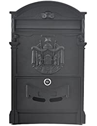 Black: Popamazing 40.5Cm X 24.5Cm X 7.5Cm Outdoor Lockable Letter Mail Post Box Outside Mailbox Letterbox Postbox...