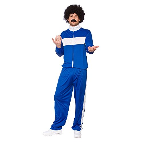 Kostüm Fancy Retro Dress - Blue & White 80s Retro Trackie Funny Athlete Tracksuit Fancy Dress Costume One Size