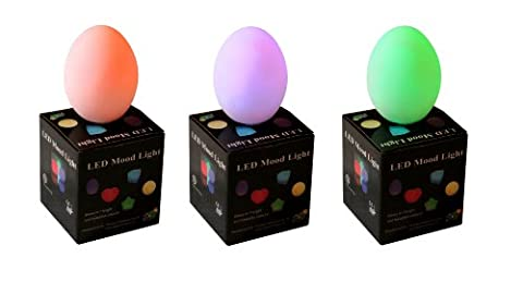 3 Mood Lamps with Colour Changing LED - Battery Egg