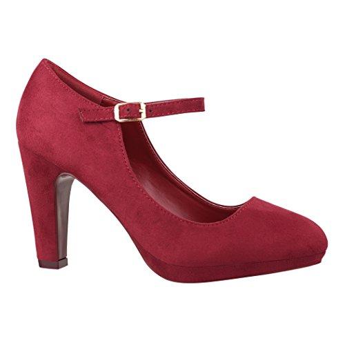 Elara Damen Pumps | Bequeme Riemchen High Heels | Vintage-Style | Abendschuh Trendy | Chunkyrayan | 118-8 Prune-39