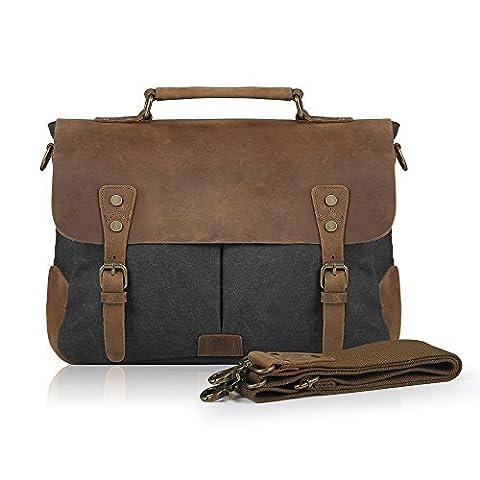 SMRITI Vintage 14-Inch Laptop Messenger Bag Leather