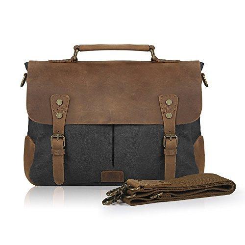 SMRITI Vintage Leder Canvas Aktentasche Laptop Messenger Tasche 14 zoll - Schwarz