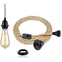 Vintage Lustre corde chanvre de 4,5 mètres - Rétro Douille E27 avec Interrupteur Lampe Suspension Corde pour Restaurant…