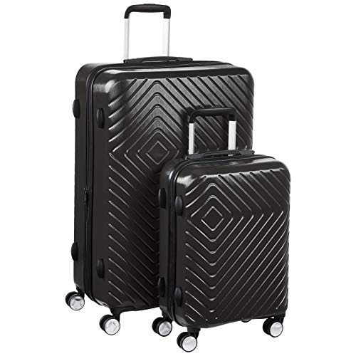 AmazonBasics - Trolley con motivo geometrico, Set da 2 pezzi (55 cm, 78 cm), Nero