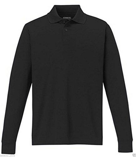 Nuovo da uomo a maniche lunghe tinta unita Polo T Shirt Donna Cotone M L XL 2X L 3X L Black Large